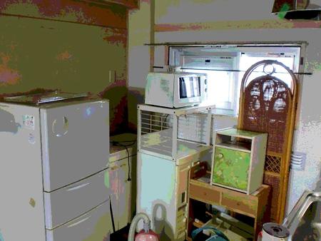 一室にまとまった家電製品